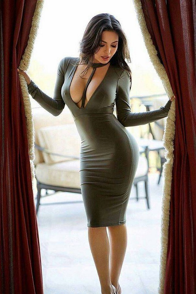 Girl big boobs in tight black dress sex