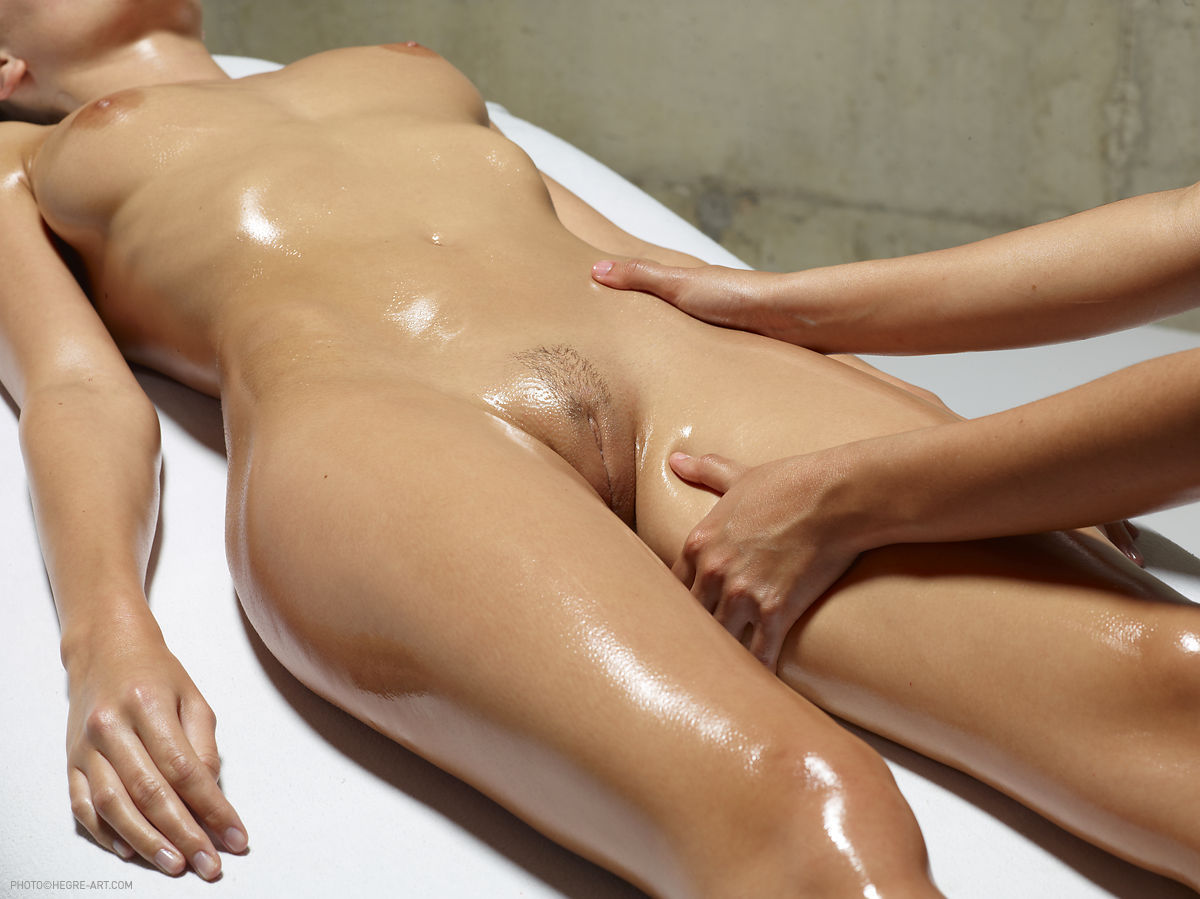 Massage oil naked body
