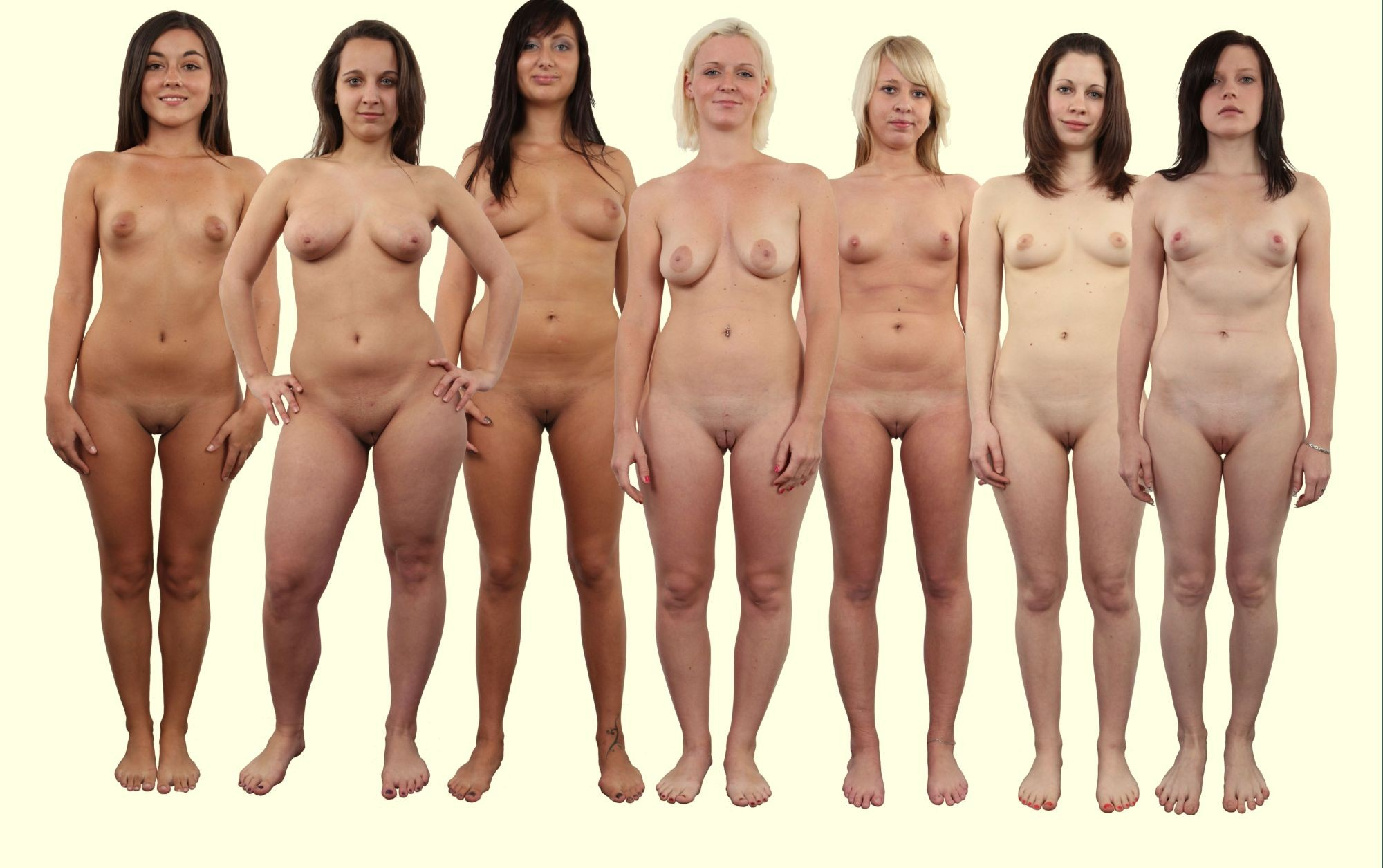 Multiple Naked Girl Lineup Photo